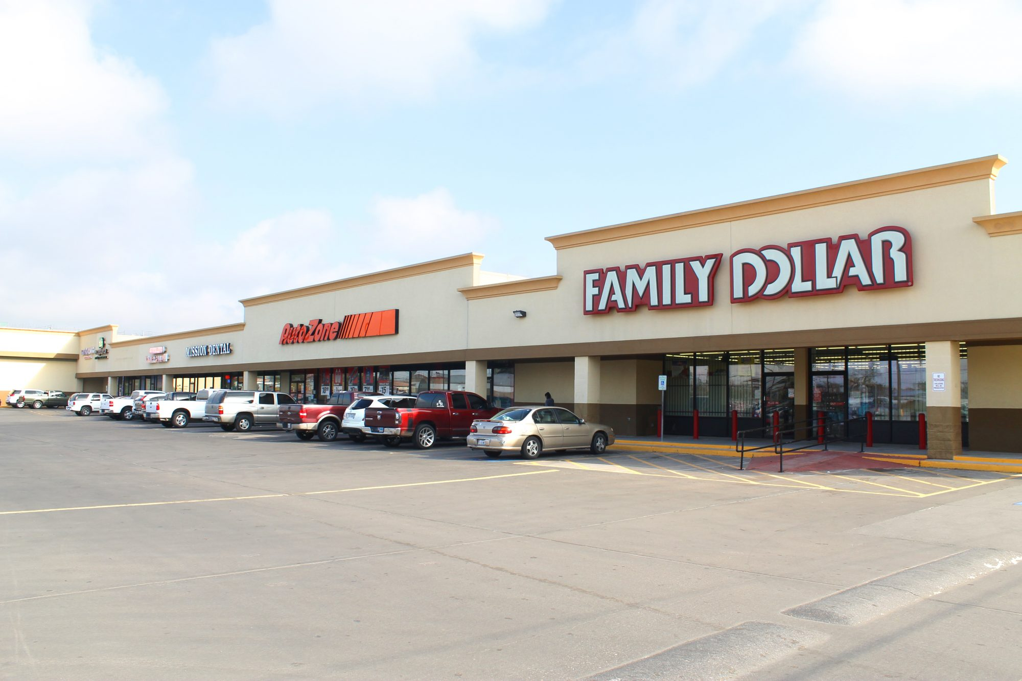 Auto Zone and Family Dollar Storefronts
